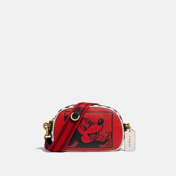 Bolsa Badge Camera Crossbody Disney Mickey Mouse x Keith Haring x  Coach Vermelho