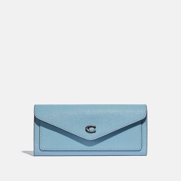 Carteira Wyn Soft Wallet Coach Azul