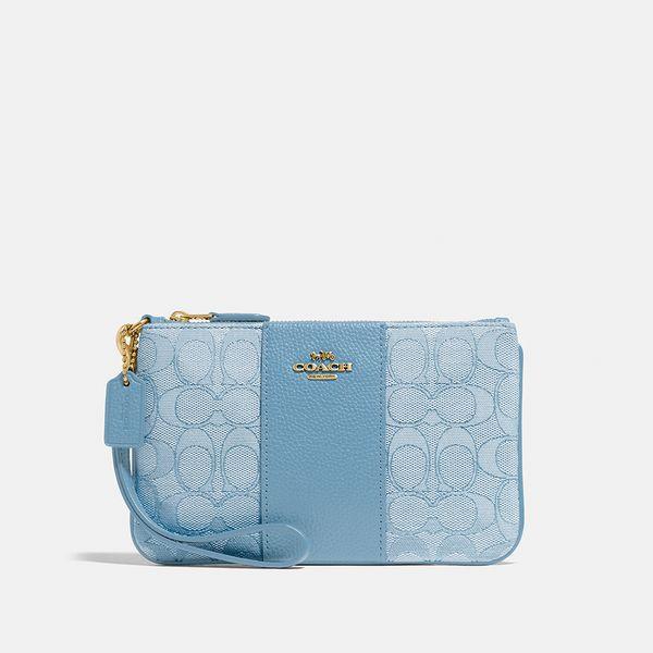 Bolsa de Mão Wristlet Signature Coach Azul