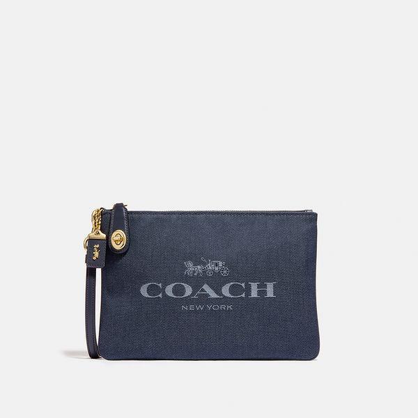 Bolsa de Mão Pouch 26 Coach Azul