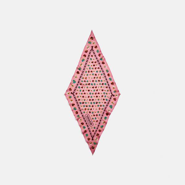 Lenço Floral Diamond Coach Rosa